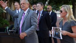 """WASHINGTON, DC - JULY 27: U.S. Rep. Ralph Norman (R-SC) (2nd-L) speaks as Rep. Marjorie Taylor Greene (R-GA) (R) and Rep. Thomas Massie (R-KY) (3rd R) listen during a news conference outside U.S. Supreme Court on July 27, 2021 in Washington, DC. The Republican legislators filed a lawsuit against Speaker of the House Rep. Nancy Pelosi (D-CA) for her mask mandate inside the House chamber that caused """"segregation"""" among lawmakers. (Photo by Alex Wong/Getty Images)"""