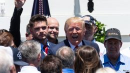 US President Donald Trump speaks with attendees at the end of the 3rd Annual Made in America Product Showcase on the South Lawn at the White House in Washington, DC, on July 15, 2019. (Photo by NICHOLAS KAMM / AFP) (Photo credit should read NICHOLAS KAMM/AFP via Getty Images)