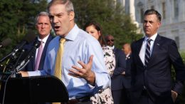 WASHINGTON, DC - JULY 27: U.S. Jim Jordan (R-OH) (2nd L) speaks as (L-R) House Minority Leader Rep. Kevin McCarthy (R-CA) and Rep. Jim Banks (R-IN) listen during a news conference in front of the U.S. Capitol on July 27, 2021 in Washington, DC. Leader McCarthy held a news conference to discuss the January 6th Committee. (Photo by Alex Wong/Getty Images)