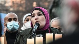 NEW YORK, NY - MARCH 19: Activist Linda Sarsour speaks at a peace vigil to honor victims of attacks on Asians on March 19, 2021 in Union Square Park in New York City. On March 16th, eight people were killed at three Atlanta-area spas, six of whom were Asian women, in an attack that sent terror through the Asian community. (Photo by Stephanie Keith/Getty Images)
