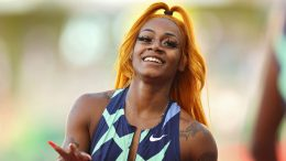EUGENE, OREGON - JUNE 19: Sha'Carri Richardson looks on after winning the Women's 100 Meter final on day 2 of the 2020 U.S. Olympic Track & Field Team Trials at Hayward Field on June 19, 2021 in Eugene, Oregon. (Photo by Patrick Smith/Getty Images)