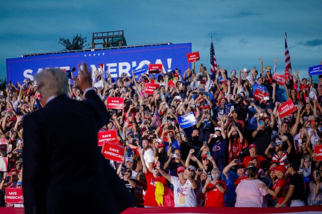 SARASOTA, FL - JULY 03: Former U.S. President Donald Trump arrives to hold a rally on July 3, 2021 in Sarasota, Florida. Co-sponsored by the Republican Party of Florida, the rally marks Trump's further support of the MAGA agenda and accomplishments of his administration. (Photo by Eva Marie Uzcategui/Getty Images)