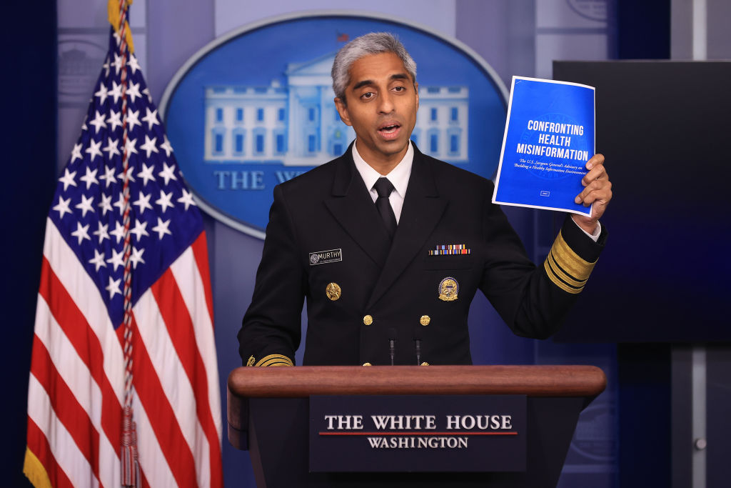 WASHINGTON, DC - JULY 15: U.S. Surgeon General Vivek Murthy talks to reporters during the daily news conference in the Brady Press Briefing Room at the White House on July 15, 2021 in Washington, DC. Murthy announced the publication of a Surgeon's General's advisory titled, 'Confronting Health Misinformation,' and called on social media companies to do more to combat false information about the coronavirus vaccine and other health care topics. (Photo by Chip Somodevilla/Getty Images)