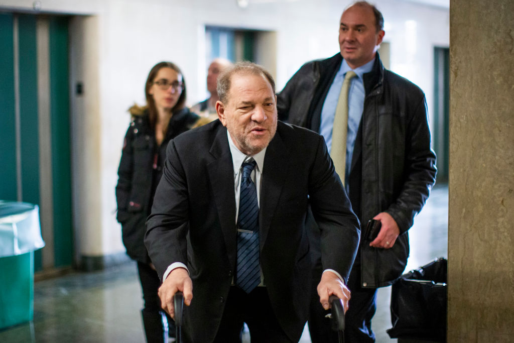 NEW YORK, NY - JANUARY 06: Harvey Weinstein leaves the courtroom in New York City criminal court on January 6, 2020 in New York City. Weinstein, a movie producer whose alleged sexual misconduct helped spark the #MeToo movement, pleaded not-guilty on five counts of rape and sexual assault against two unnamed women and faces a possible life sentence in prison. (Photo by Stephanie Keith/Getty Images)