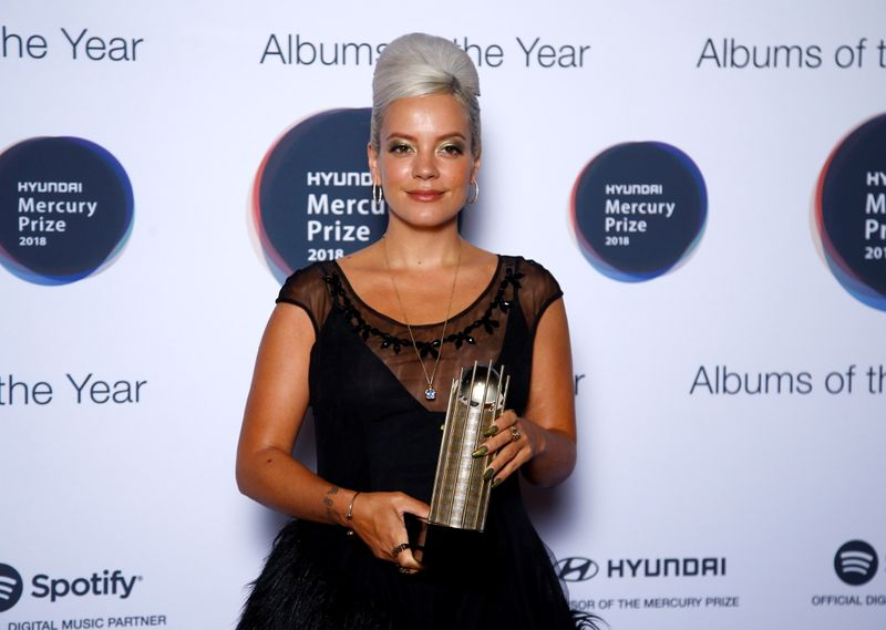 FILE PHOTO: Lily Allen, whose album 'No Shame' has been nominated for the Mercury Prize 2018, poses for a photograph ahead of the ceremony at the Hammersmith Apollo in London