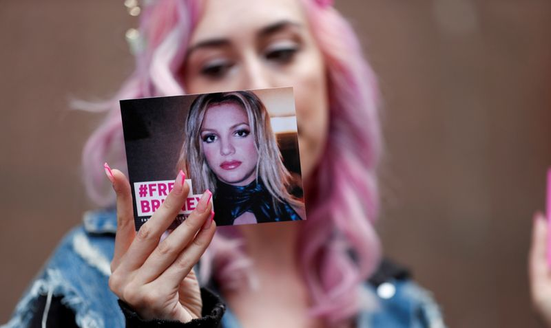 FILE PHOTO: A conservatorship case hearing for pop star Britney Spears at Stanley Mosk Courthouse in Los Angeles