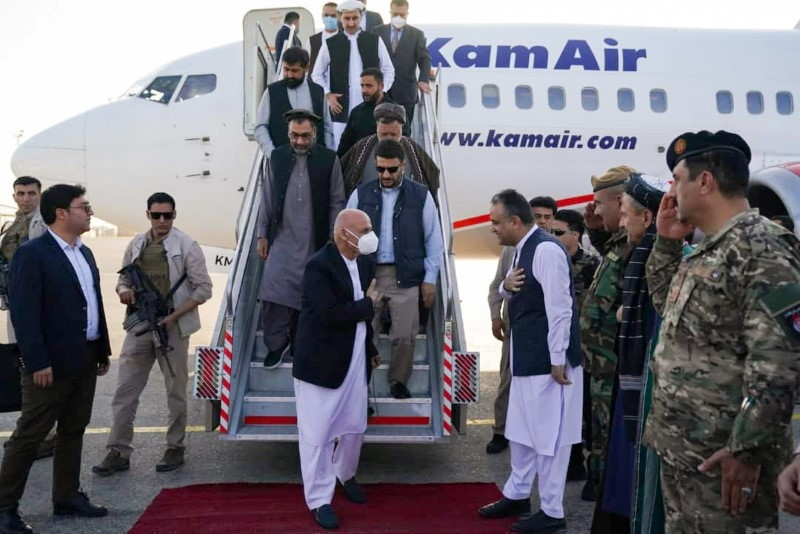 Afghanistan president Ashraf Ghani arrives in Mazar-i-Sharif to check the security situation of the northern provinces , Afghanistan A