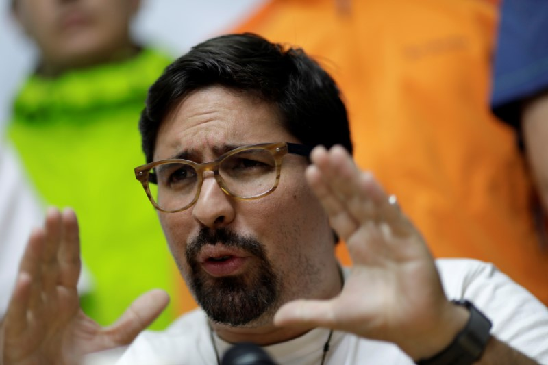 Venezuela's opposition lawmaker Freddy Guevara gestures during a news conference in Caracas