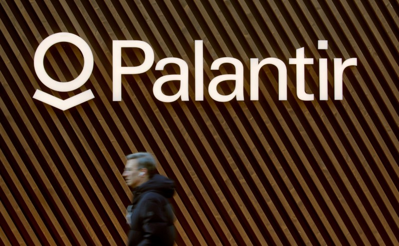 FILE PHOTO: FILE PHOTO: Logo of Palantir Technologies is seen in Davos