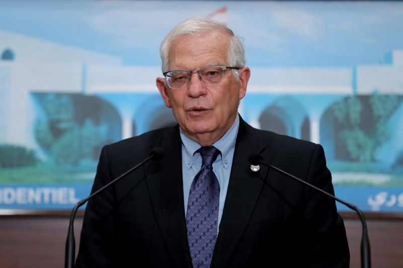 European Union foreign policy chief Borrell speaks at the presidential palace in Baabda