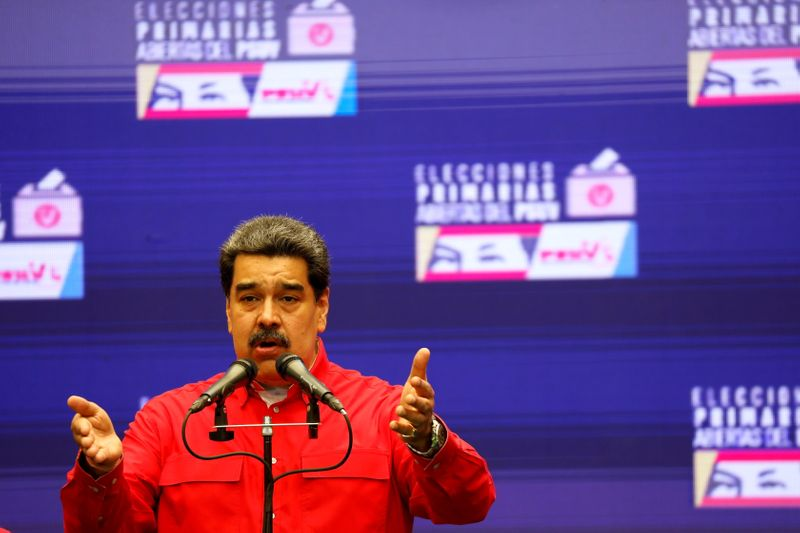 FILE PHOTO: Maduro speaks to media after voting in Socialist Party primaries in Caracas