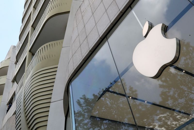 The Apple Inc logo is seen at the entrance to the Apple store in Brussels