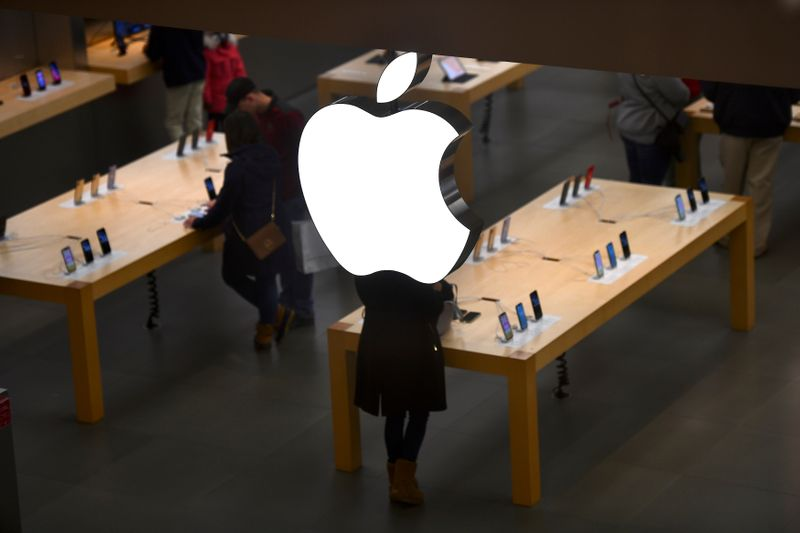 An Apple logo is seen at an Apple store as pre-Thanksgiving and Christmas holiday shopping accelerates at the King of Prussia Mall in King of Prussia