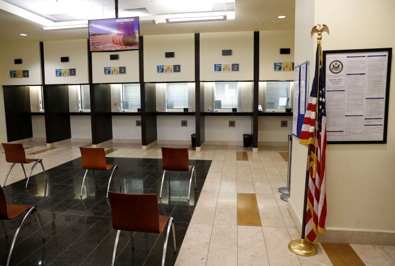 General view of the consular section at the U.S. Embassy in Kabul