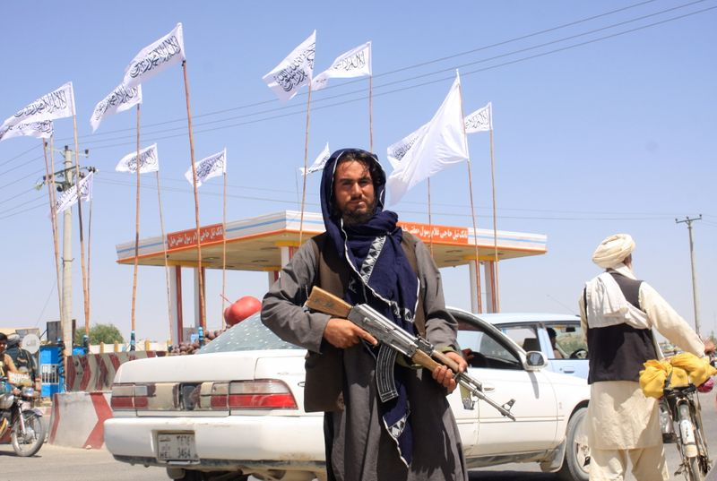 A Taliban fighter looks on as he stands at the city of Ghazni