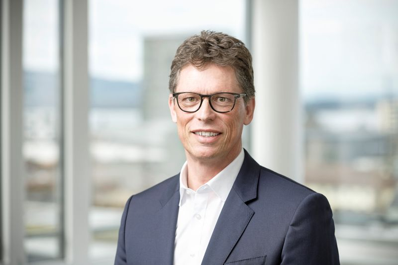 Matthias Rebellius, board member of Siemens AG and CEO of Smart Infrastructure at Siemens, poses at the Siemens Smart Infrastructure headquarters in Zug