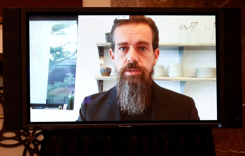 FILE PHOTO: Twitter CEO Jack Dorsey is seen testifying remotely via videoconference during a Senate Judiciary Committee hearing on Facebook and Twitter's content moderation practices