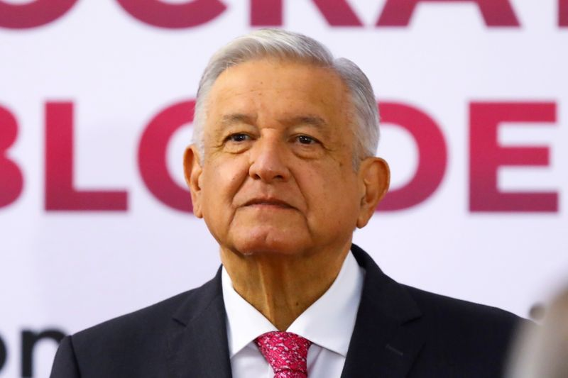 FILE PHOTO: Mexico's President Andres Manuel Lopez Obrador delivers a speech on the third anniversary of his presidential election victory at National Palace in Mexico City