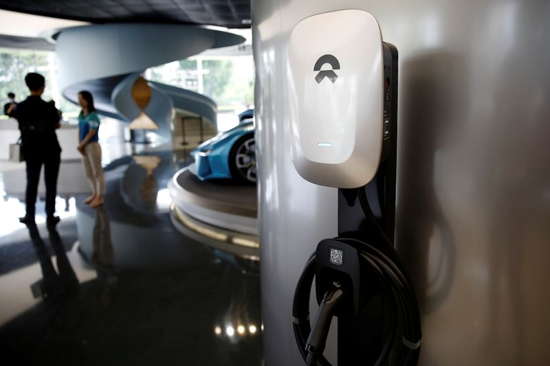 FILE PHOTO: NIO charging station is seen displayed at its store in Beijing