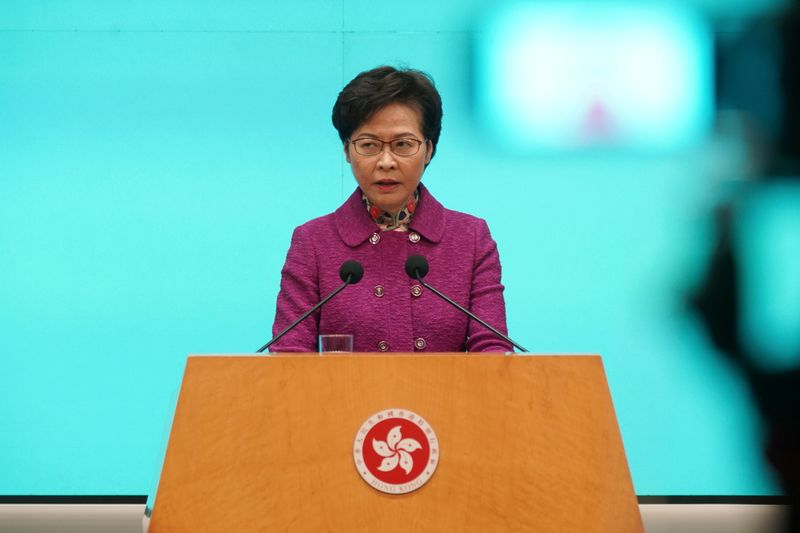 FILE PHOTO: Hong Kong Chief Executive Carrie Lam attends a news conference in Hong Kong
