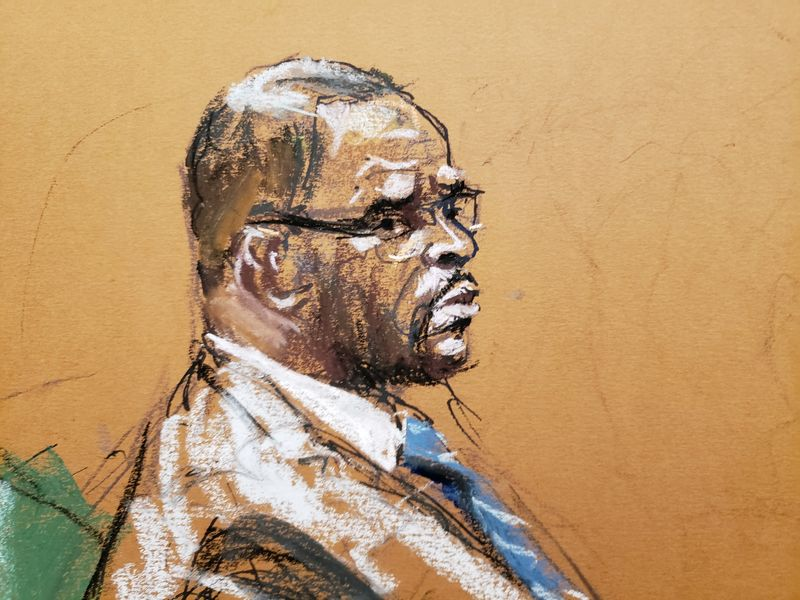 R Kelly attends Brooklyn's Federal District Court during the start of his trial in New York