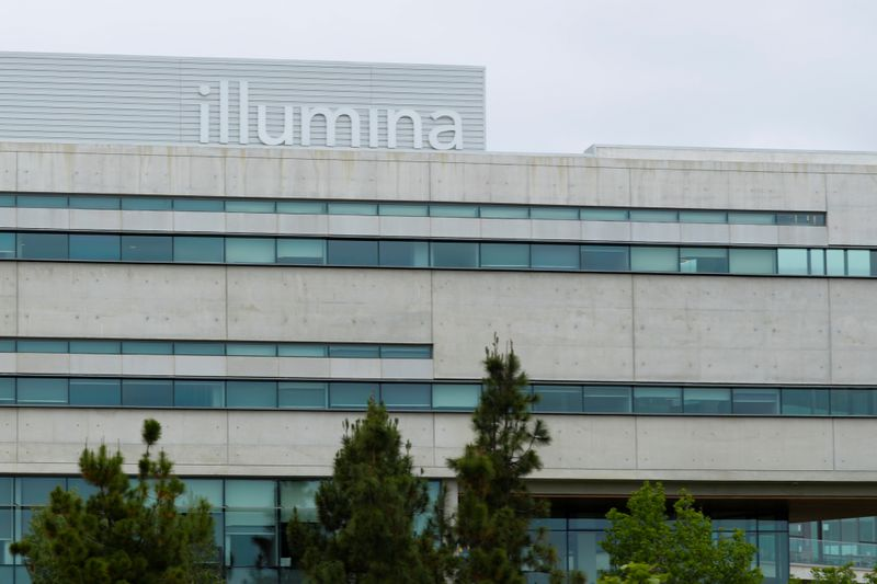 A new office building housing genetic research company Illumina is shown in San Diego, California