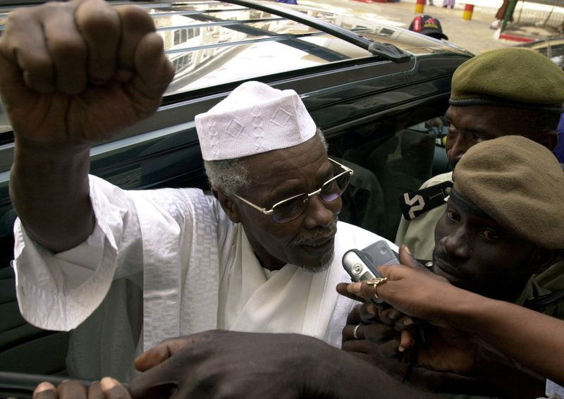 FILE PHOTO: Former Chad President Habre makes declarations to media as he leaves a court in Dakar, Senegal