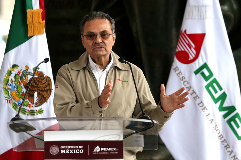 FILE PHOTO: Pemex Chief Executive Officer Octavio Romero attends a news conference in Mexico City