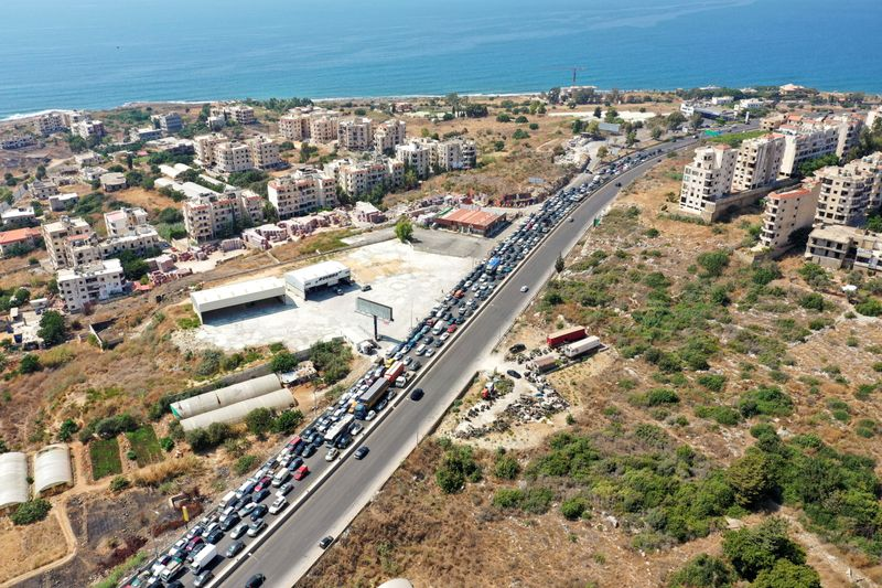 FILE PHOTO: Traffic jam caused by cars lining up for fuel in Damour
