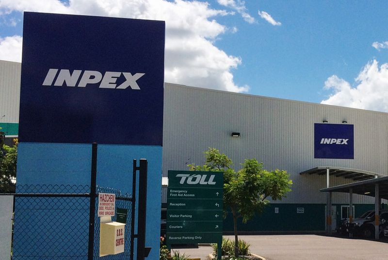 A view of a storage facility for Inpex's offshore Ichthys project in an industrial park in Darwin