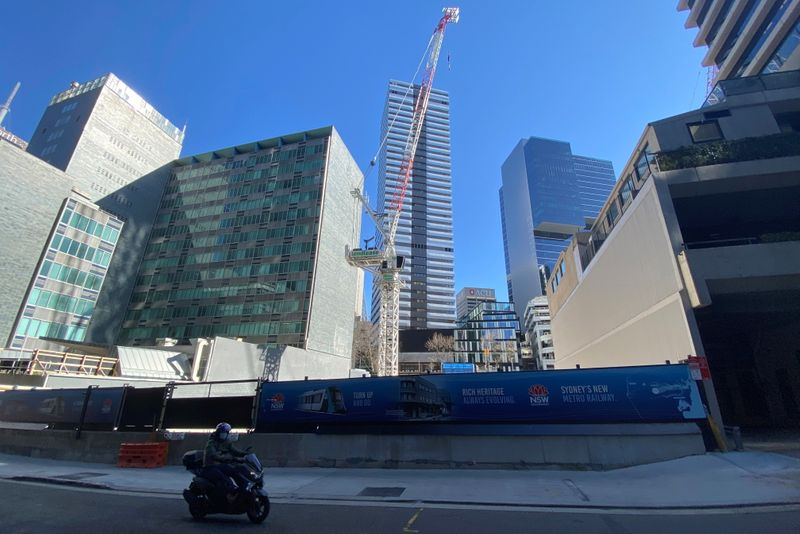 View of a construction site for a train station on the Sydney Metro