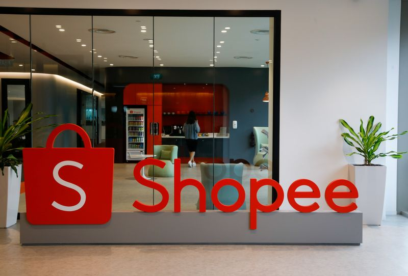 FILE PHOTO: A signof Shopee is pictured at its office in Singapore