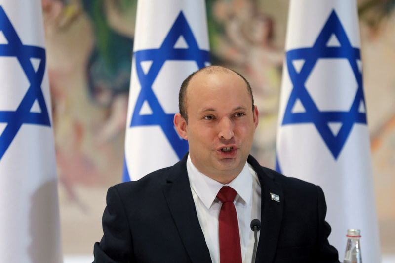 FILE PHOTO: Israeli Prime Minister Naftali Bennett chairs the weekly cabinet meeting in Jerusalem