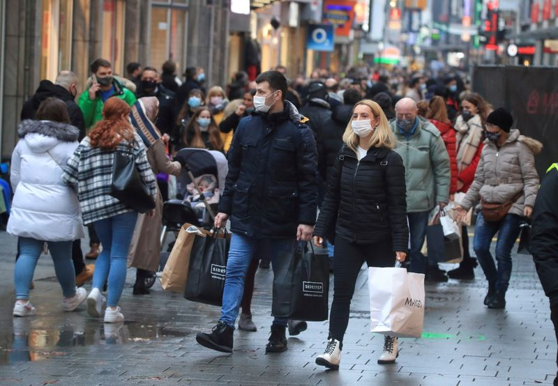 FILE PHOTO: Cologne's shopping street during the coronavirus pandemic