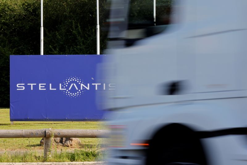 The logo of Stellantis at the entrance of the company's factory in Hordain