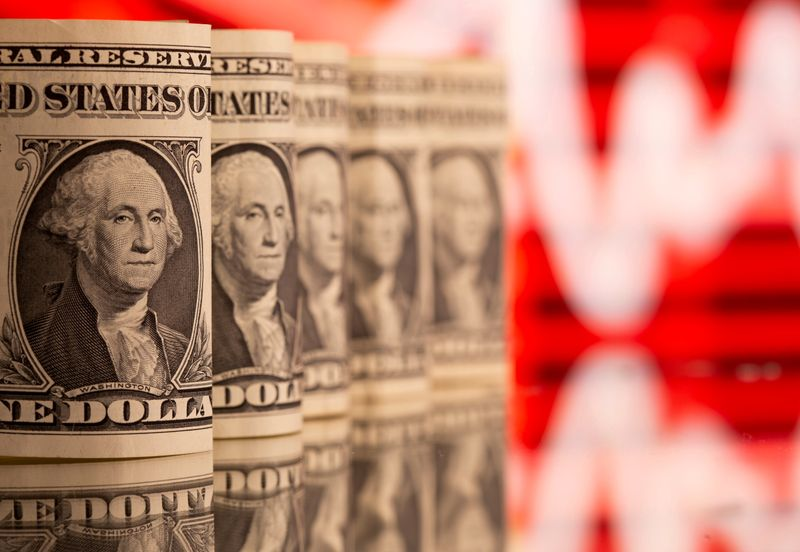 FILE PHOTO: U.S. One dollar banknotes are seen in front of displayed stock graph in this illustration taken