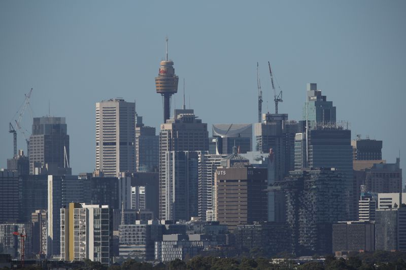 The downtown skyline is seen in Sydney