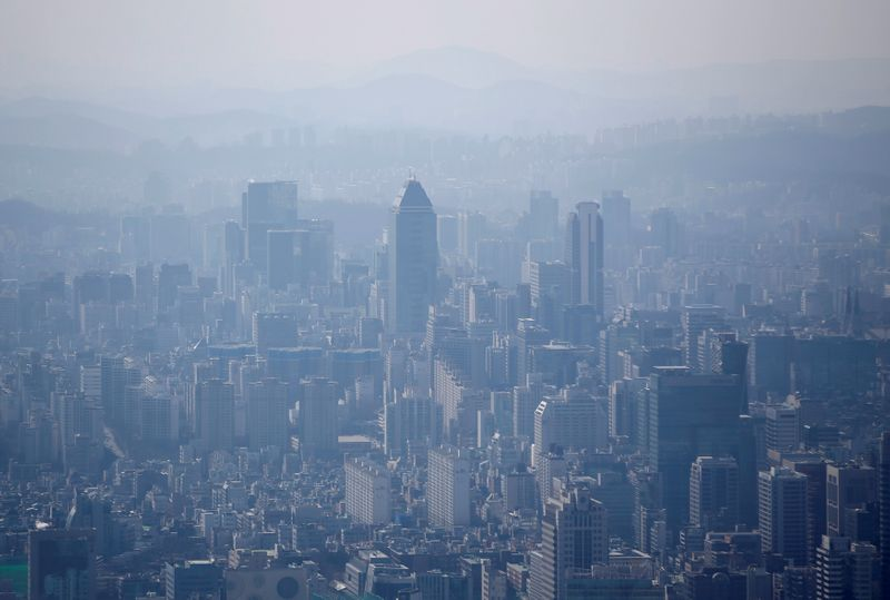 The skyline of central Seoul is seen during a foggy day in Seoul