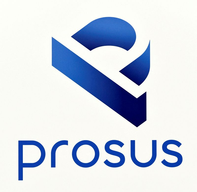 FILE PHOTO: A logo of Prosus is diplayed at Amsterdam's stock exchange building as Prosus begins trading on the Euronext stock exchange in Amsterdam
