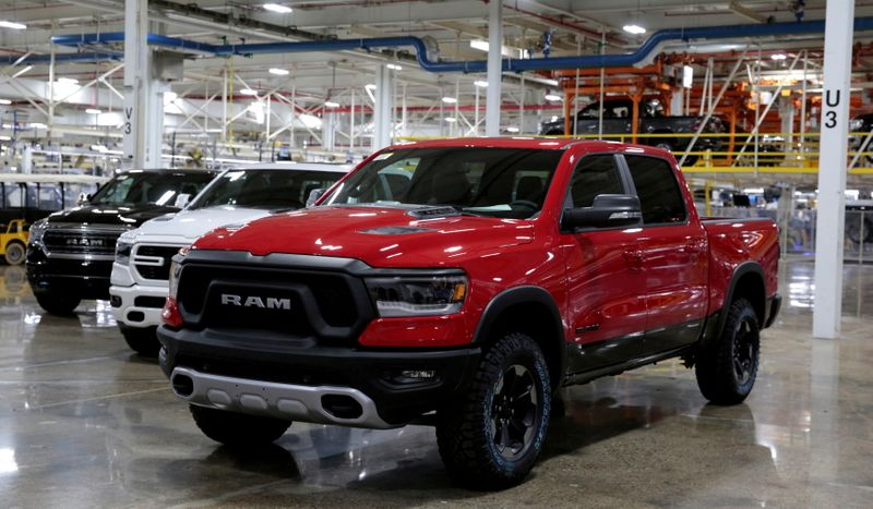 FILE PHOTO: Ram pickup trucks are on display at the FCA Sterling Heights Assembly Plant in Sterling Heights, Michigan