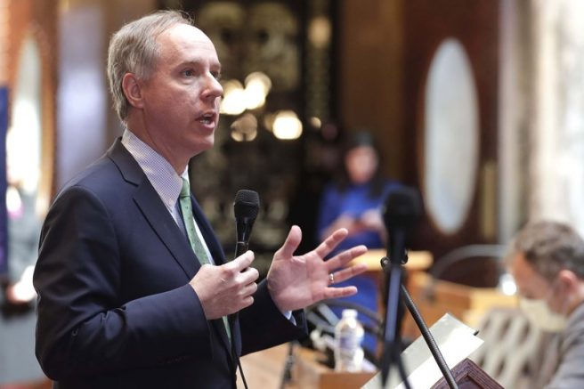 Wisconsin Assembly Speaker Robin Vos speaks at the state Capitol in Madison Wis.  (Rick Wood/Milwaukee Journal-Sentinel via AP, File)