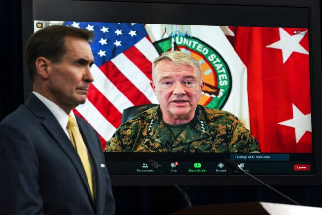 Gen. Kenneth McKenzie, Commander of U.S. Central Command, appears on screen as he speaks from MacDill Air Force Base, in Tampa, Fla., about Afghanistan during a virtual briefing moderated by Pentagon spokesman John Kirby at the Pentagon in Washington. (AP Photo/Manuel Balce Ceneta)