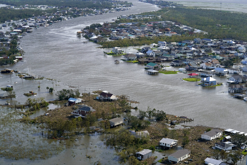 A flooded city is seen in the aftermath of Hurricane Ida, Monday, Aug. 30, 2021, in Lafitte, La. (AP Photo/David J. Phillip)