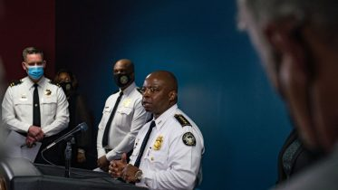 ATLANTA, GA - MARCH 17: Chief Rodney Bryant, of the Atlanta Police Department, speaks at a press conference on March 17, 2021 in Atlanta, Georgia. Suspect Robert Aaron Long, 21, was arrested after a series of shootings at three Atlanta-area spas left eight people dead on Tuesday night, including six Asian women. (Photo by Megan Varner/Getty Images)