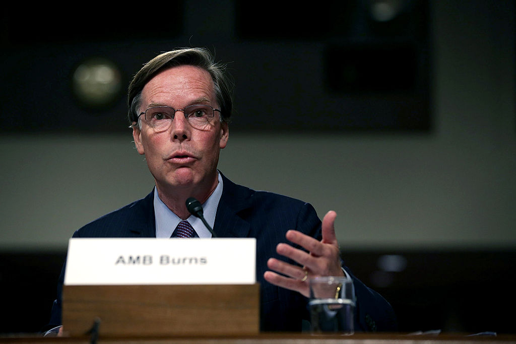 WASHINGTON, DC - AUGUST 04: Former Undersecretary of State for Political Affairs Nicholas Burns testifies during a hearing before Senate Armed Services Committee August 4, 2015 on Capitol Hill in Washington, DC. The committee held a hearing on the Joint Comprehensive Plan of Action (JCPOA) and the military balance in the Middle East. (Photo by Alex Wong/Getty Images)