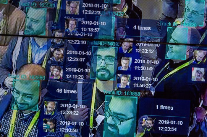 A live demonstration uses artificial intelligence and facial recognition in dense crowd spatial-temporal technology at the Horizon Robotics exhibit at the Las Vegas Convention Center in Las Vegas. (Photo by DAVID MCNEW/AFP via Getty Images)