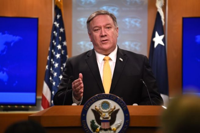 Former Secretary of State Mike Pompeo in the State Department in Washington D.C. (Photo by ERIC BARADAT/AFP via Getty Images)