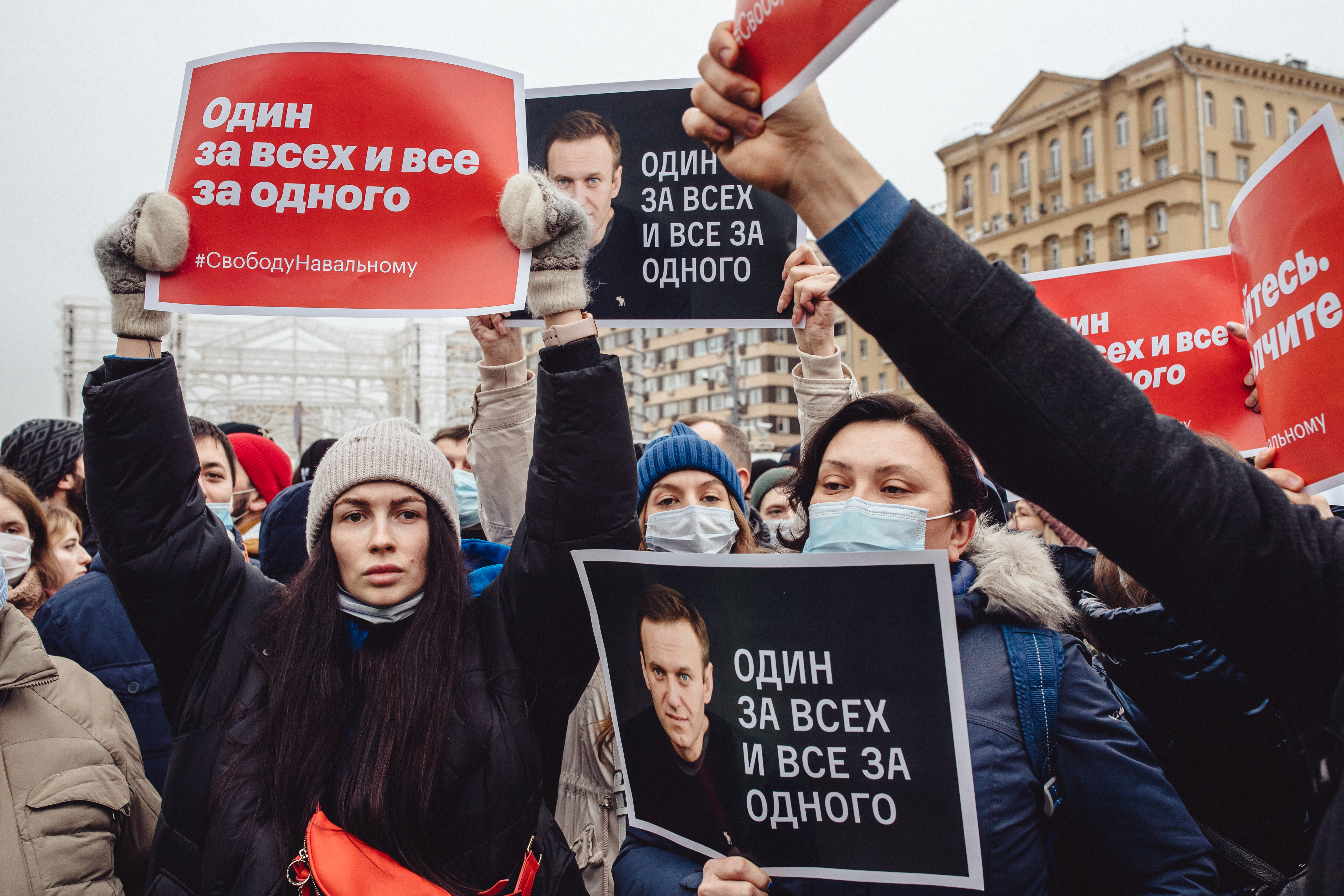 People gathered to protest against Vladimir Putin's government at Pushkin Square in Moscow, Russia. (Photo by Getty Images/Getty Images)
