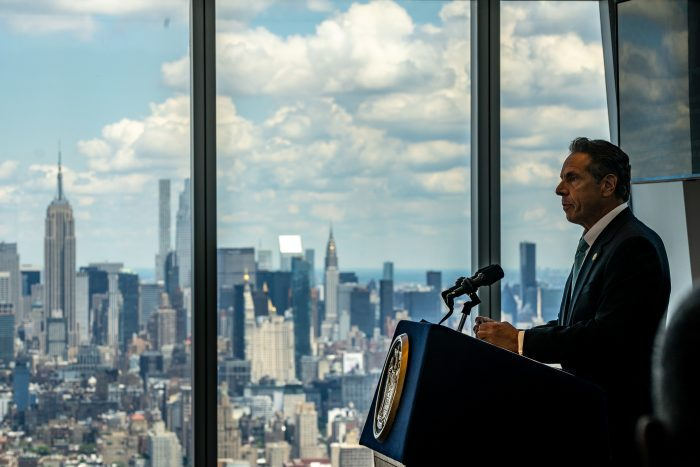New York Gov. Andrew Cuomo speaks during a press conference at One World Trade Center on June 15, 2021 in New York City. The Governor announced that 70% of New York State's adult population has received at least one dose of the COVID-19 vaccine. He also said a majority of New York's coronavirus restrictions will be lifted now that the milestone has been reached, just one week after he set the goal. (Photo by David Dee Delgado/Getty Images)