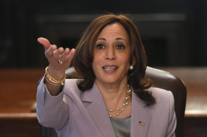 Kamala Harris in the Eisenhower Executive Office Building, next to the White House in Washington, D.C.  (Photo by MANDEL NGAN/AFP via Getty Images)